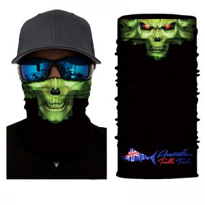 10 Pack of Australian Tackle Trader Face Shields / Green Skull