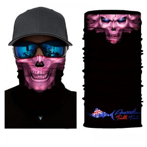 10 Pack of Australian Tackle Trader Face Shields / Pink Skull