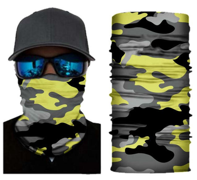 Yellow camo face shield